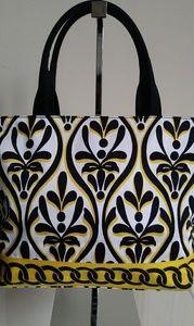 Talbots yellow, black, and white cloth mini tote